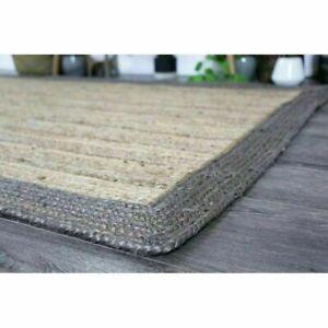 Jute Rug Natural Rectangle Braided Floor Mat Handmade Reversible Runner Rug