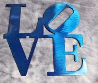 "LOVE ""Boxed "" BLUE Metal Wall Art Decor 12"""