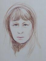 Altes Skizze Zeichnung Bleistift Auf Papier Porträt Weiblich Jahre '40 P28.6