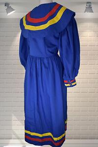 Vintage 1980s Edwardian Style Balloon Sleeved Sailor Collar Dress - M/Large