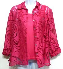 Notations Ladies Raspberry Pink Rayon Polyester Linen Two Shirt Set - Sz S (4-6)