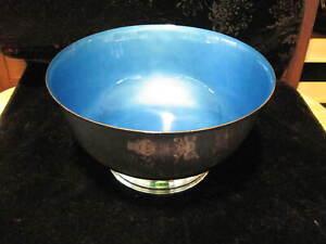 Towle Sterling Silver (523) Enameled Blue Wedding Bowl NO MONOGRAM Very Fine