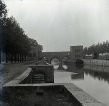 TOURNAI c. 1900 - Canal Pont Péniche Belgique Grand Négatif - FD 353