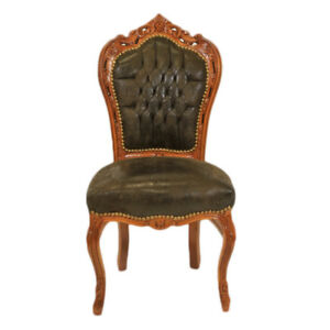 CHAIRS - FRANCE BAROQUE STYLE DINING ROYAL CHAIR MAHOGANY / SUEDE #60ST5