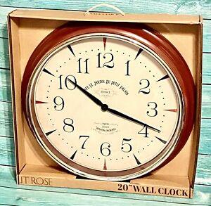 Large 20 inch Round Frame JT Rose Paris France Motif Kitchen Cafe Red Wall Clock
