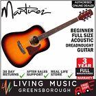 NEW Martinez Beginner Acoustic Full Size Dreadnought Guitar Tobacco Sunburst