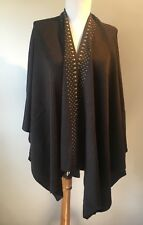 New Designer Pia Rossini Brown Fine Knit Studded Jumper Cardigan One Size