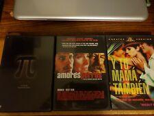 Pi + Amores Perros + Y Tu Mama Tambien 3 Dvd Lot Free Shipping