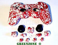 Controladora de reemplazo PS3 salpicaduras de sangre Shell Mod Kit + Kit botones que empareja