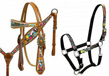 Western Horse Bling! Leather Tack Set Bridle Headstall + Breast Collar + Halter