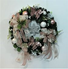 ROSE GOLD CHRISTMAS EVERGREEN WREATH HOLIDAY XMAS BUTTERFLIES ORNAMENTS RIBBON