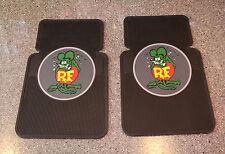 Universal Black Rubber Car Floor Mats with Color Rat Fink Logo: (Set of 2) RA210