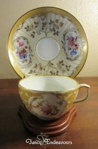 Early KPM Germany Ornate Neuzierat Floral and Gold Cup and Saucer Set