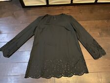 Cataline Long Sleeve Lace Casual Black Blouse - Size Large (12-14)