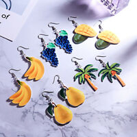 AM_ Women Cute Peach Grape Banana Fruit Dangle Hook Earrings Jewelry Novelty