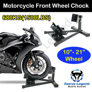 "1500LBS Motorcycle Motorbike Stand 10""-21""Front Wheel Chock Trailer Transport"