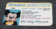 NICE DISNEYLAND MICKEY MOUSE SOUVENIR DRIVERS LICENSE 1992