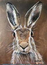 Hare Portrait  Wildlife Rabbit Fox Wildlife Oil  Painting On Board