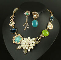Pearl Cluster Turquoise Gem Flower Statement Necklace Drop Earrings Jewelry Sets
