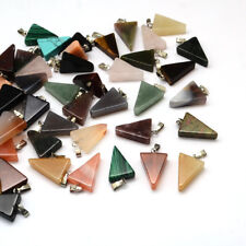 50x Platinum Tone Brass Findings Triangle Mixed Stone Pendants 22~25x14~15x5~7mm