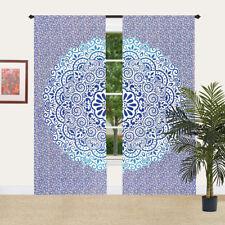 Blue Mandala Boho Window Curtains Cotton Drape Balcony Room Decor Curtain Set