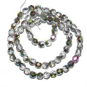 CZ366 Crystal Silver Vitrail 6mm Fire-Polished Faceted Round Czech Glass Beads