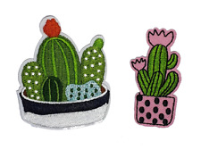 Cactus Cacti Iron On Patch Sew On Clothes Jacket Jeans Plant Embroidered Badges