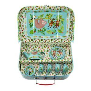 Sass & Belle Sloth & Friends Children's Tea Set Blue Picnic Box Tea  Kids Toy