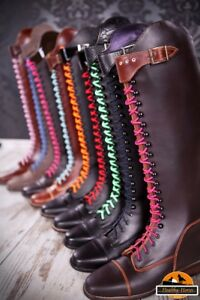 Schnürsenkel 1Paar extra lang geschnürte Reitstiefel verschiedene Farben -  bunt