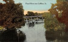 LeMars Iowa~Floyd River Concrete Bridge~1912 Postcard