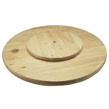 LAZY SUSAN SUZIE ROTATING ROUND WOODEN TRAY SERVING PLATE SOLID RUBBER WOOD 35CM