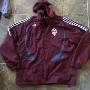 Men's Adidas Colorado Rapids Windbreaker MLS Sideline Parka Hooded Jacket Sz XL
