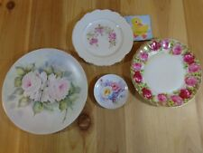Collectible Plates Lot of 4 ROSES PINK YELLOW Hand Painted Porcelain