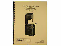 """Delta Rockwell 20"""" Band Saw  Operating &  Parts List  Manual *842"""