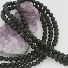 65 Pieces 6mm Matte Black Onyx Round Loose Spacer Beads 1.2mm Hole