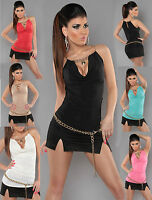 Sexy Women Clubbing Top New Ladies Party Blouse Gold Chain Shirt Size 6 8 10 12