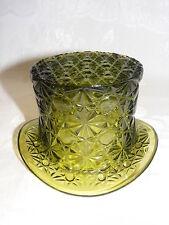 "Vintage Green Glass 3"" Top Hat Vase Button & Daisy Design"
