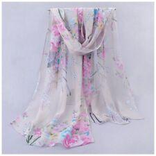 destockage foulard écharpe neuf 100% mousseline de soie fleurs fond gris