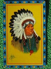 Native American Indian Chief in Feather Headdress Vintage Original Swap Card Wow