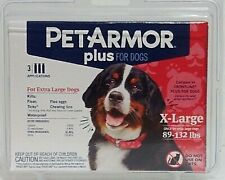 PET ARMOR PLUS Dogs 89 - 132 lbs Flea Tick Lice 3 Applications 3 Month Supply