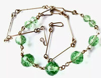 "1950S Gold Chain EMERALD Green Facet Crystal Glass Bead Necklace 16"" GIFT BOXED"