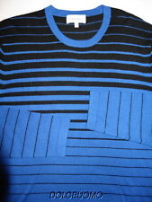 NEW $395 NEIMAN MARCUS M MEDIUM 100% CASHMERE CREW NECK SWEATER Black Blue n9