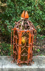 Antique Wrought Iron Hanging Church Light Fixture Ornate Gothic Massive Glass