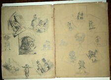 2 SHEETS of ORIG. 19thC FINISHED GRAPHITE PENCIL DRAWINGS (for Children's book?)