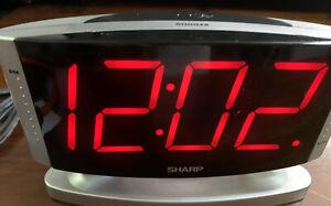 Sharp Red LED Dimmer Alarm Clock, Swivel, Snooze, Model SPC33 Tested Works