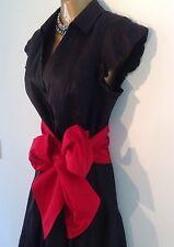 Coast Cap Sleeve Black Shirt Dress Red Silk Sash Belt Size 10
