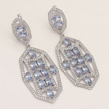 Natural Tanzania Tanzanite Chandelier Earring 925Sterling Silver Wedding Jewelry