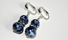 Navy Camo Digital Camouflage Earrings Crystal CLIP ON Sterling Silver