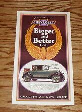 1928 Chevrolet Full Line Foldout Sales Brochure 28 Chevy