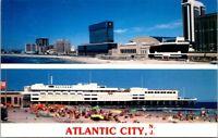 Postcard New Jersey Atlantic City Skyline Resort Casino Hotels Bathing Beach H-4